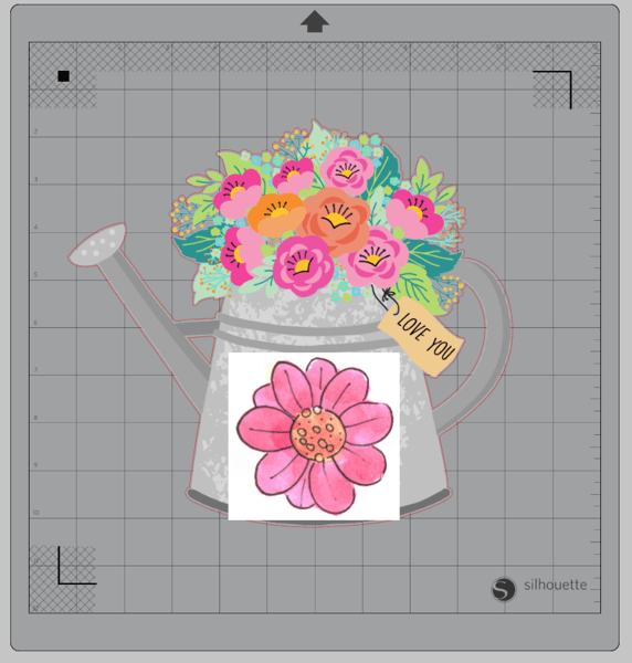 Screenshot of watercolor flower overlapping watering can with flowers