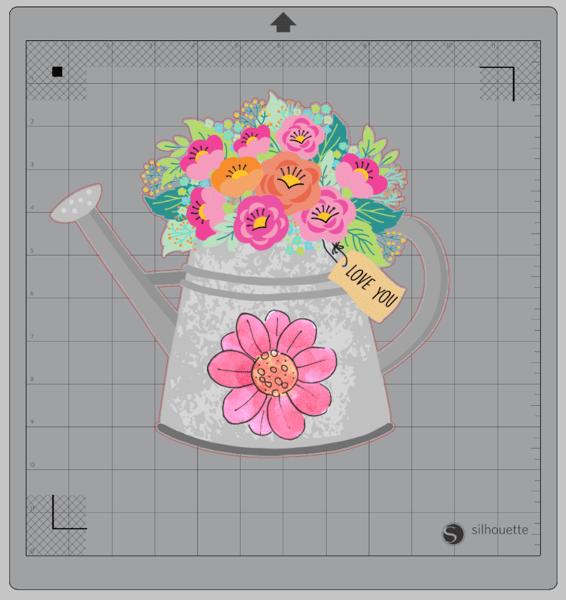 Screenshot of watering can with flowers and watercolor flower accent