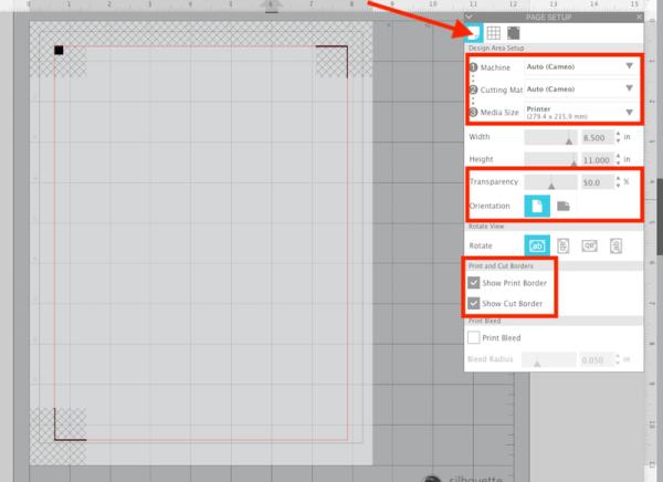 Silhouette Studio Page Setup