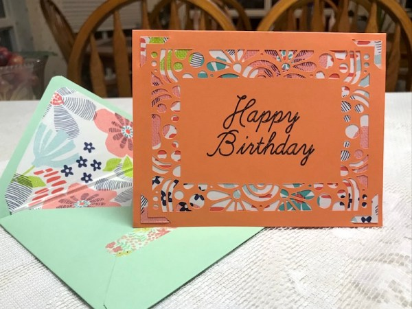 Happy Birthday card designed in Silhouette Studio and cut on Cricut Joy
