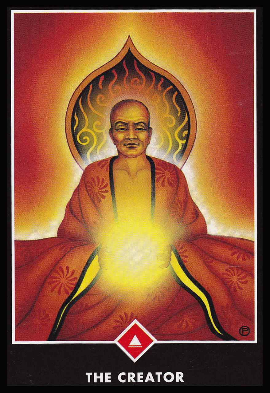 The Creator (King of Wands) A bald person in flowing red robes holds a glowing energetic light between their hands