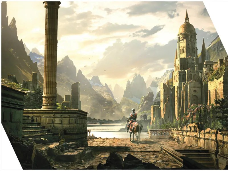Worlds de Raphael Lacoste. Peinture numérique de ruines antiques majestueuses dans une vallée.