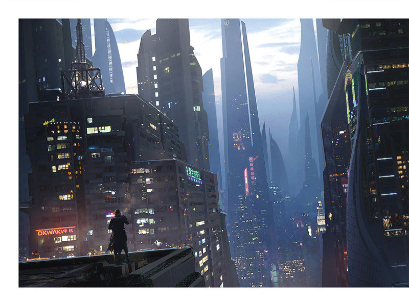 Worlds de Raphael Lacoste. Peinture numérique d'une ville, entre Blade Runner et Ghost in the Shell.