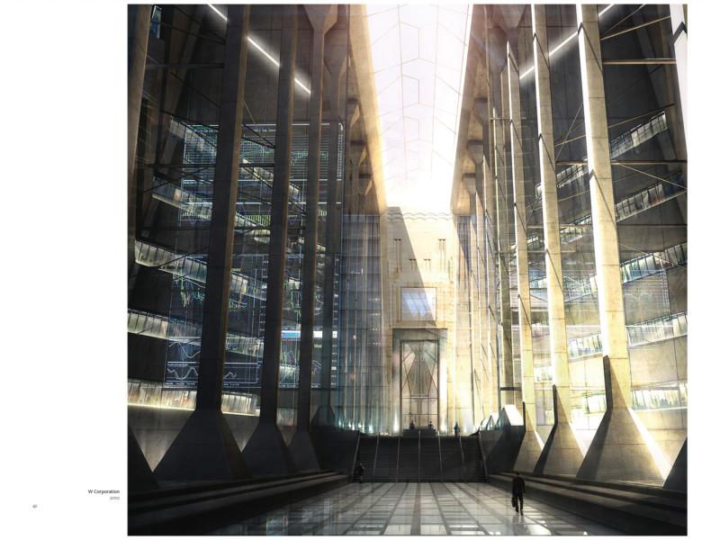 Peinture numérique de l'intérieur d'un building futuriste.