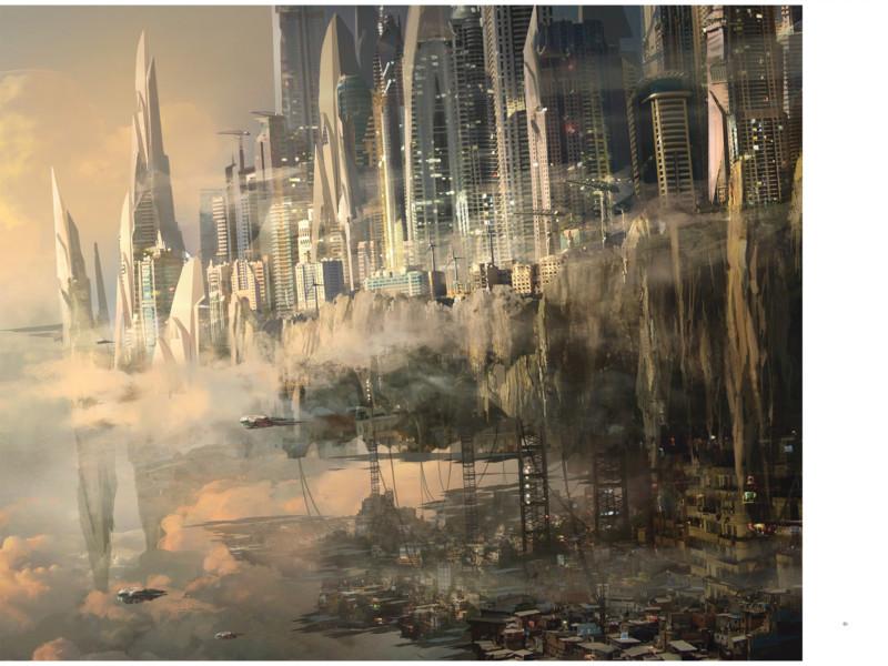 Peinture numérique d'une ville légendaire, et son reflet sur l'eau.