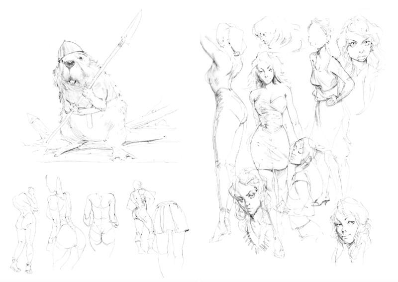 Croquis de femmes et d'un petit castor combattant issus de du sketchbook Decade d'Even Mehl Amundsen.