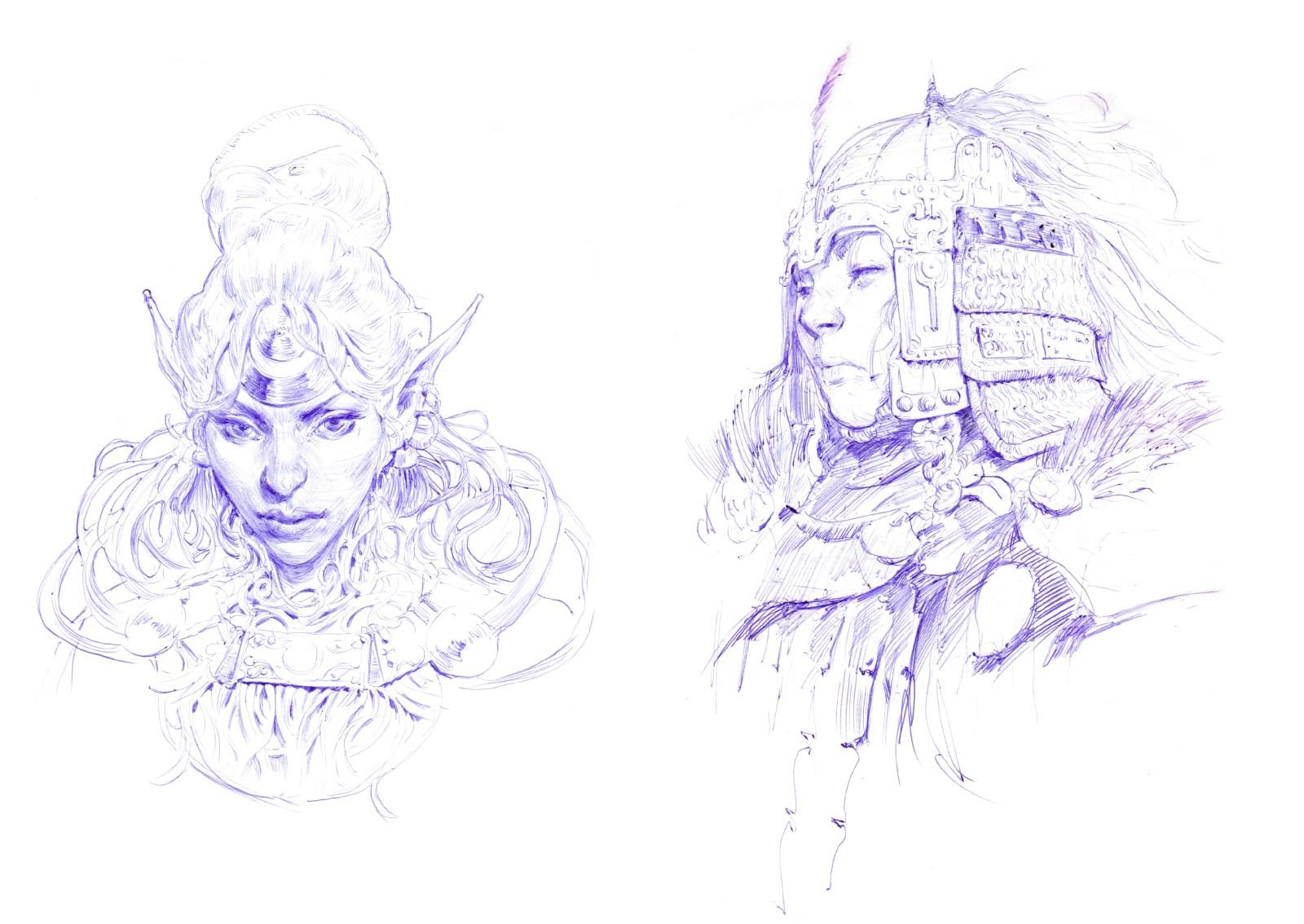 Croquis de personnages fantasy femmes, issus du sketchbook Decade d'Even Mehl Amundsen.