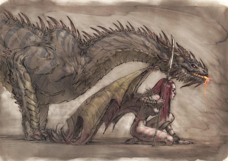 Image de l'artbook Daya de Daniel Landerman. Une guerrière et son dragon.