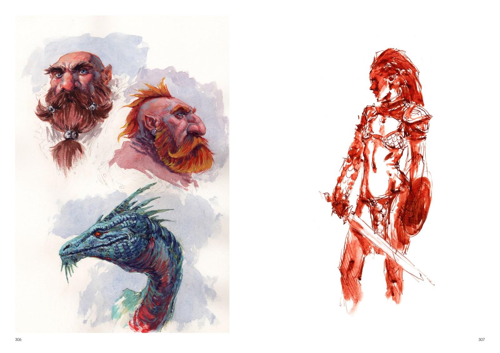 Image de l'artbook Daya de Daniel Landerman. Nains, dragon et guerrière.
