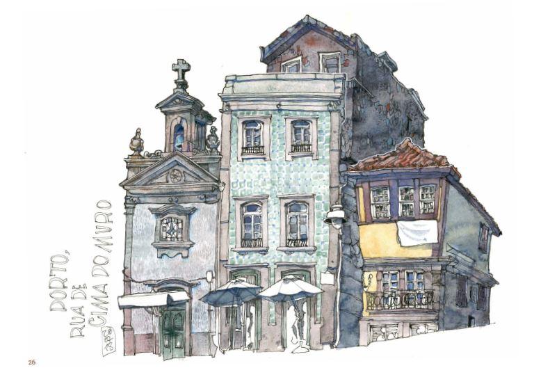 Ce qui reste du voyage de Jorg Asselborn, dessin de Porto, Rua de Cima do Muro.