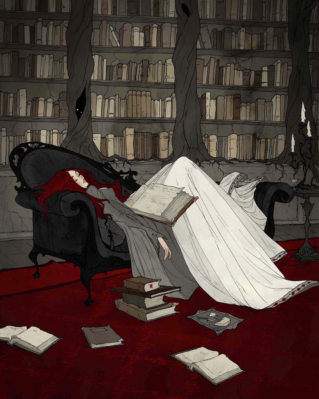 Image de l'artbook Crimson d'Abigail Larson. S'endormir en lisant.