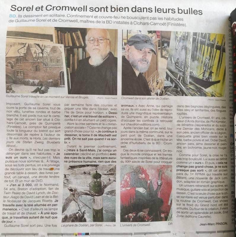 Article de journal sur des auteurs de bande dessinée dans le Finistère en Bretagne.