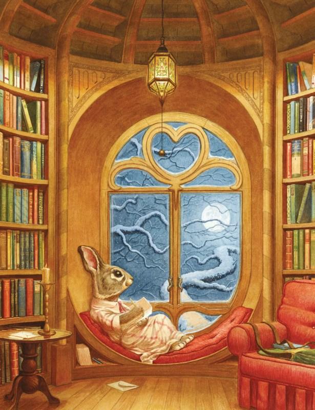Le personnage Léa Lapin écrit ses idées dans un carnet, dans la bibliothèque.