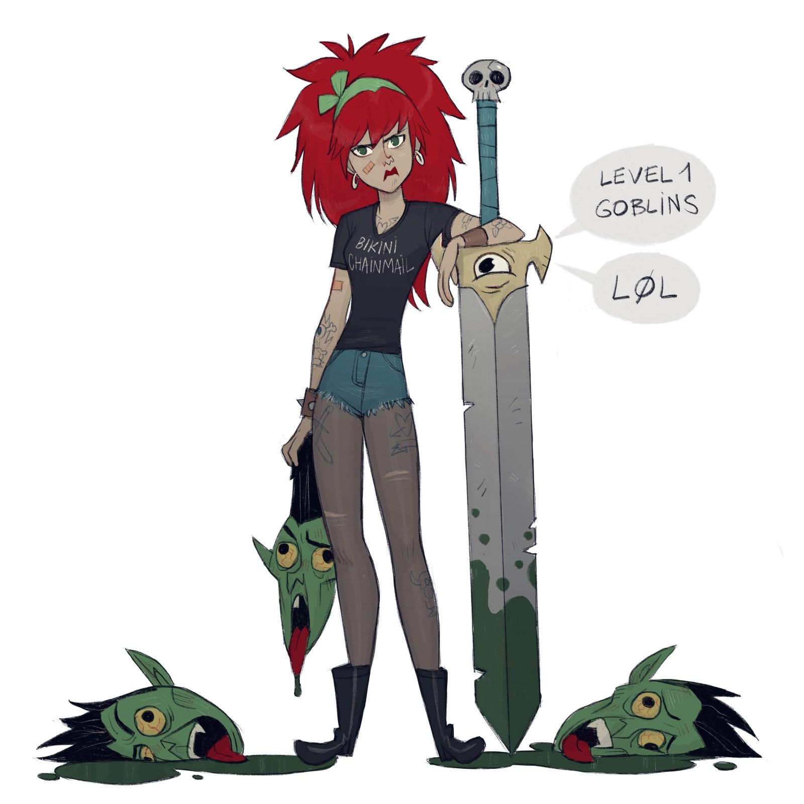 Image de l'artbook Gürlz de Serge Birault. Une femme rousse et son épée vs les goblins niveau 1.