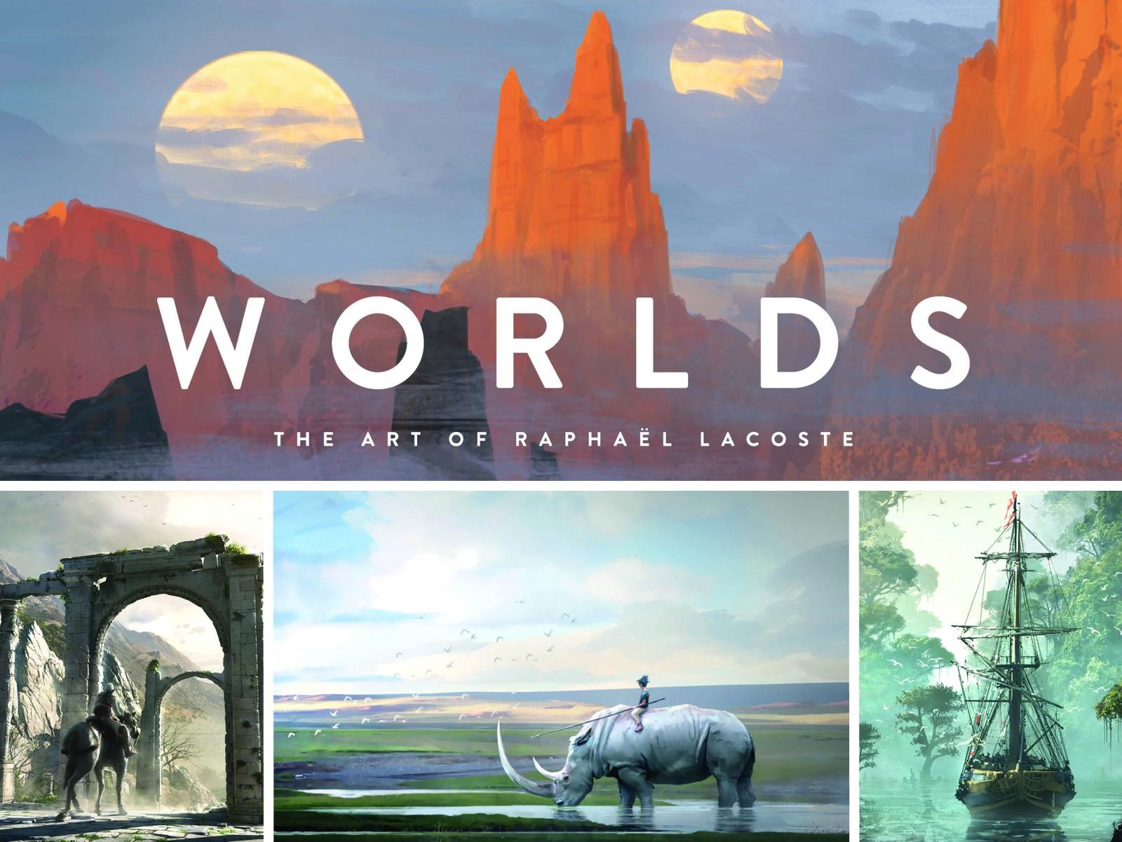 Bandeau avec des extraits de l'artbook Worlds de Raphael Lacoste.
