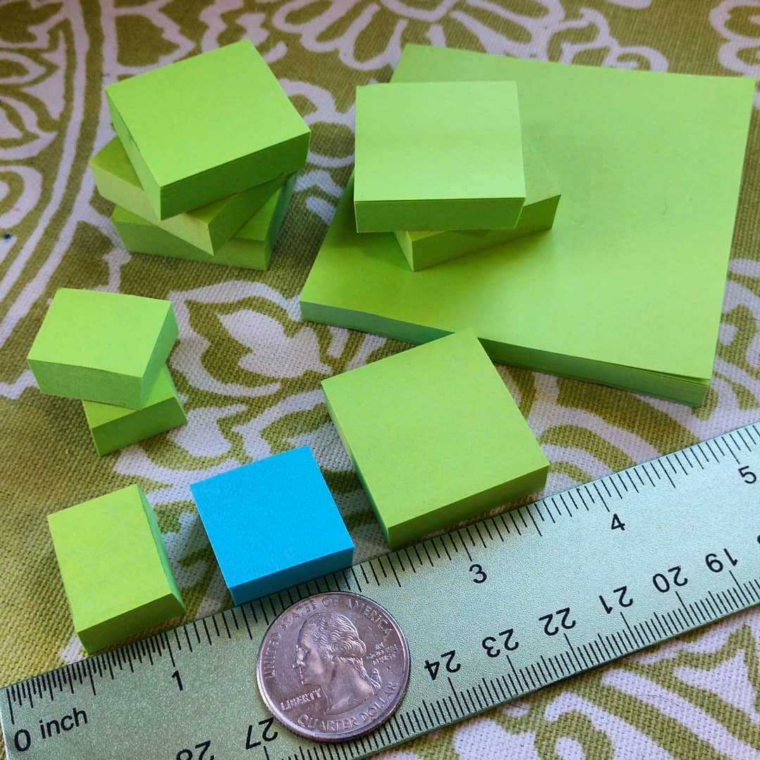 thinking of you guys while I was testing my book cutting machine today 😊 look! They're teeeny tiny baby post-its 😂