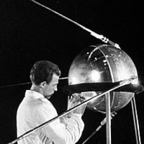 Technician working on Sputnik 1, 1957.