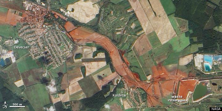 Ajka Hungary Alumina Plant disaster satellite image