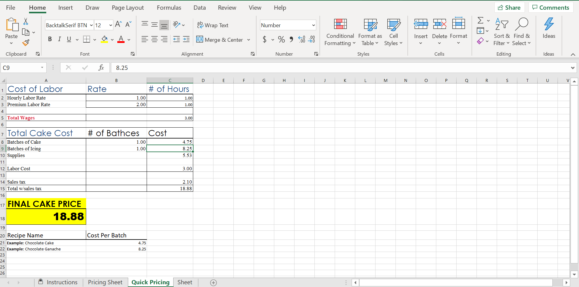 screen shot pricing calc page 2