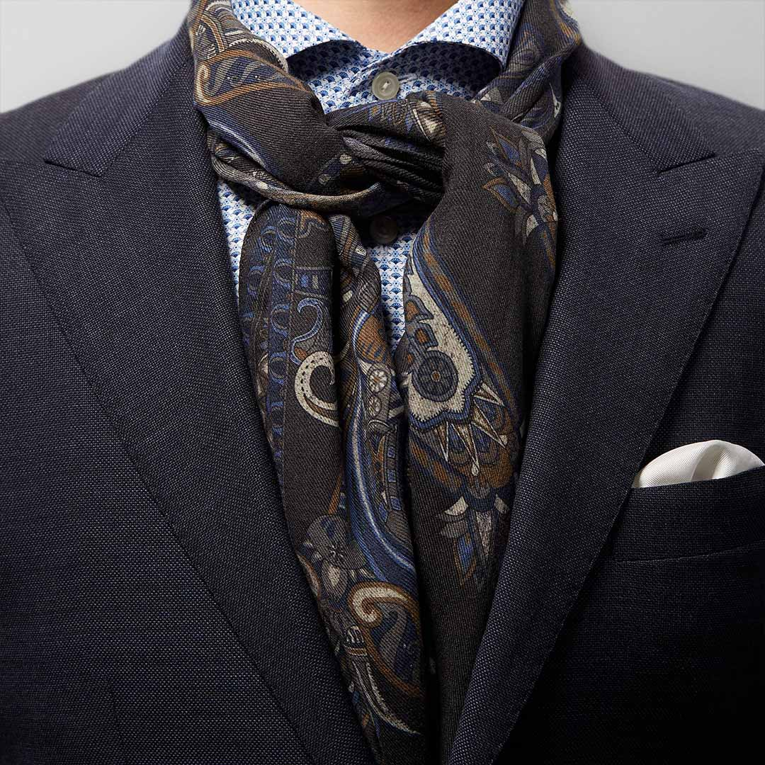 floral grey wool scarf