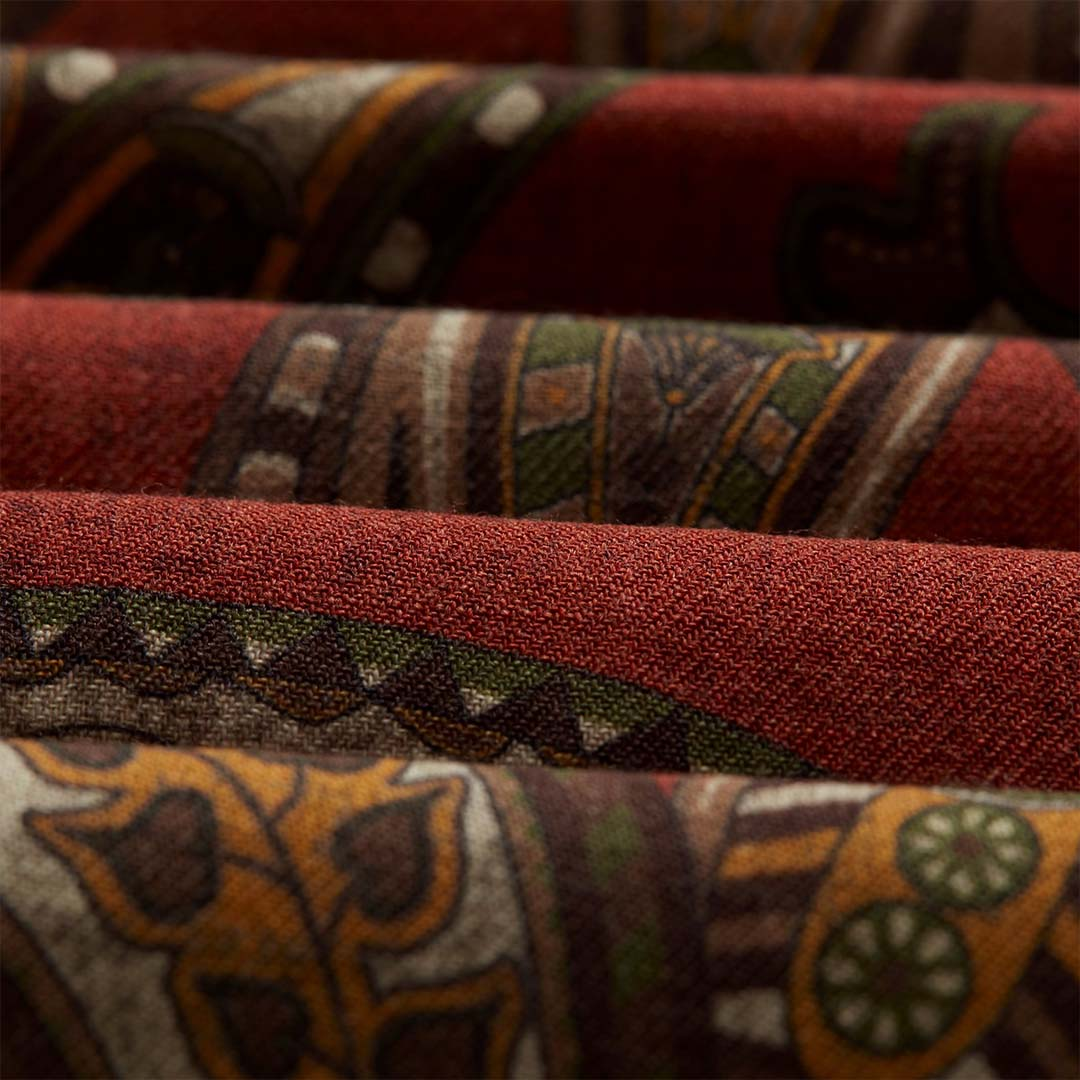 RED GREEN PAISLEY WOOL SCARF 3