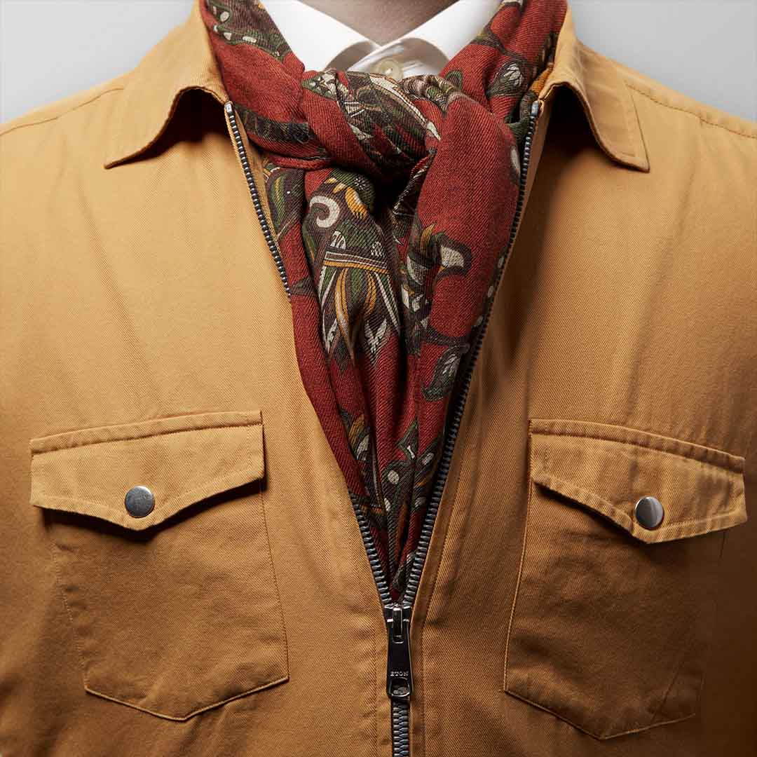 RED GREEN PAISLEY WOOL SCARF 4