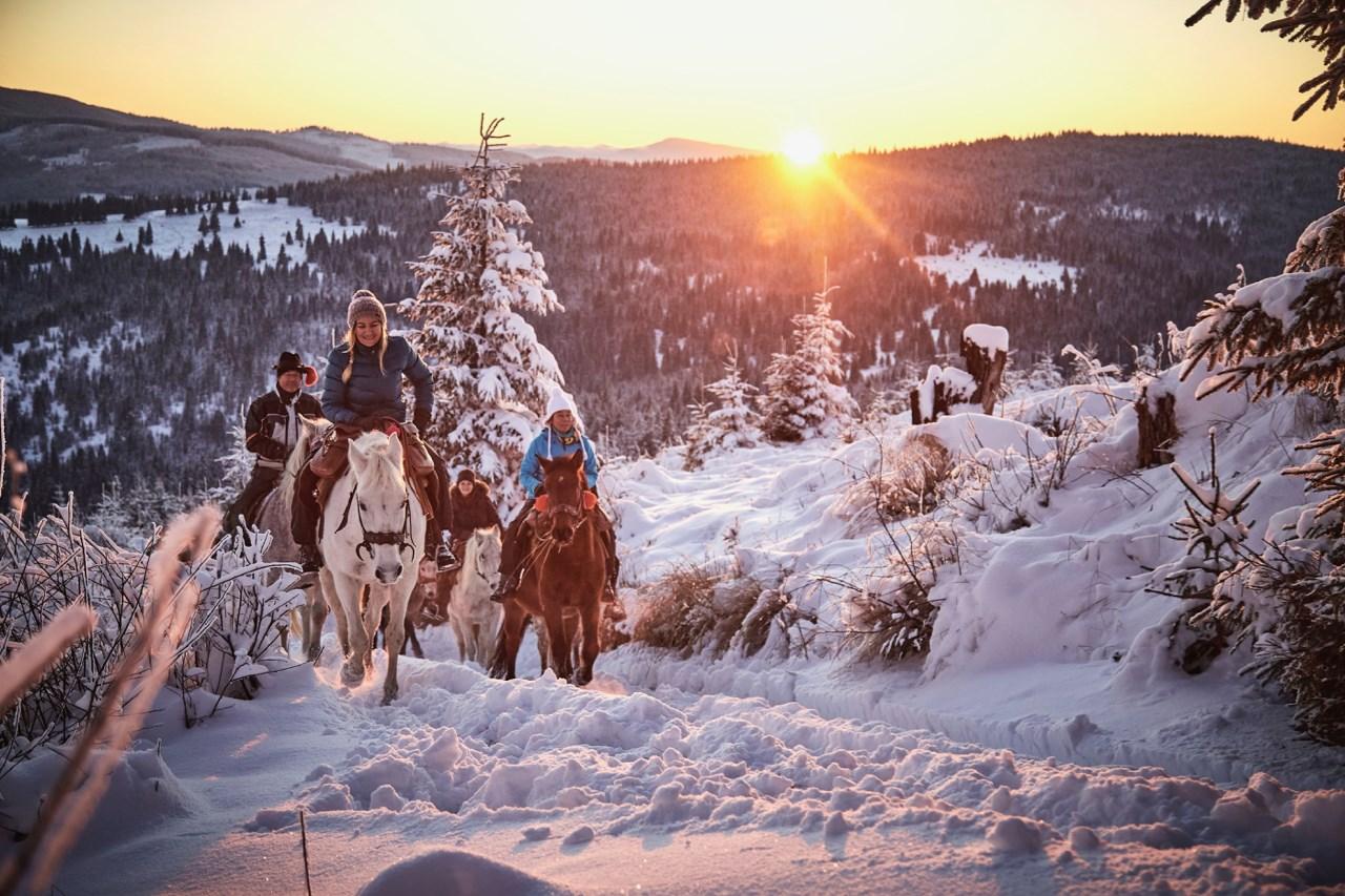 Ano Novo cavalgando na neve