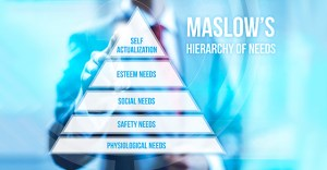 Hierarchy on needs pyramid concept pointing finger
