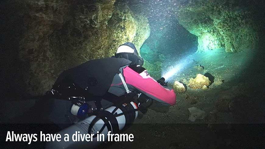 Diver in frame
