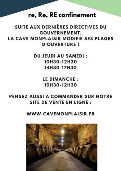 flyer nouvelle horaires de la cave monplaisir suite confinemant
