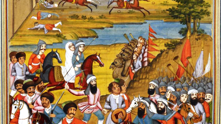 Capture of Tiflis by Agha Muhammad Shah. A Qajar-era miniature from Fath 'Ali Khan Saba's Shahinshah Nama. The British Library.