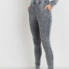 Cotton Waffle Mineral Wash Skinny Joggers – Side View