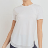 No-Sew Cool-Touch Mesh Panel Athleisure Shirt - White Front