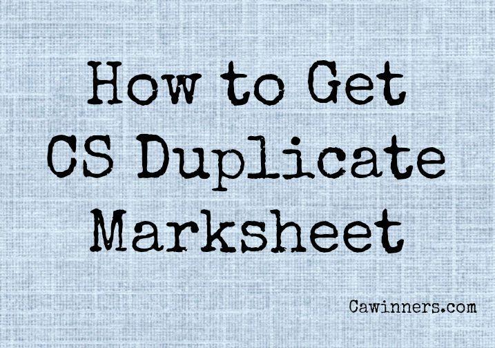 CS Duplicate Marksheet | Foundation Executive Professional