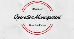 CMA Inter Operation Management Question Paper Dec 2015