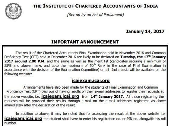 ICAI Result Nov 2016 | CA Result