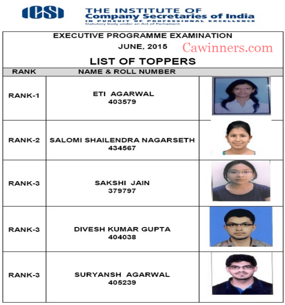 CS Executive Toppers June 2015