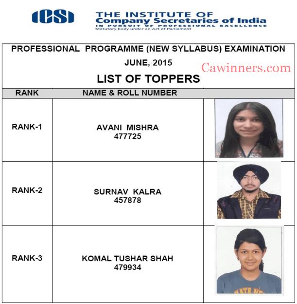 CS Professional Merit List Toppers June 2015 New Syllabus