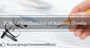 ICWAI Verification of Answer Sheets June 2016 | Inter Final