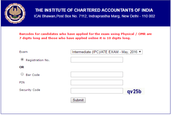 IPCC Admit Card May 2016