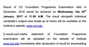 CS Foundation Result Dec 2016