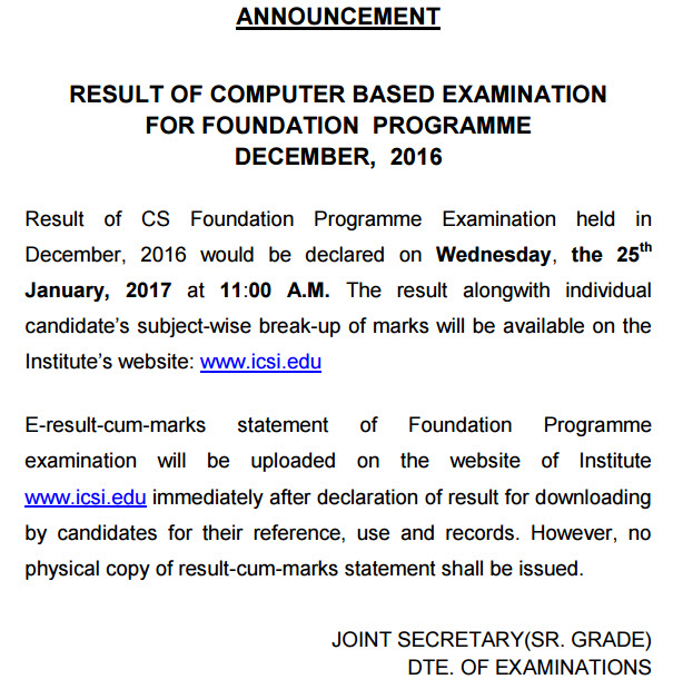 CS Foundation Result Dec 2016