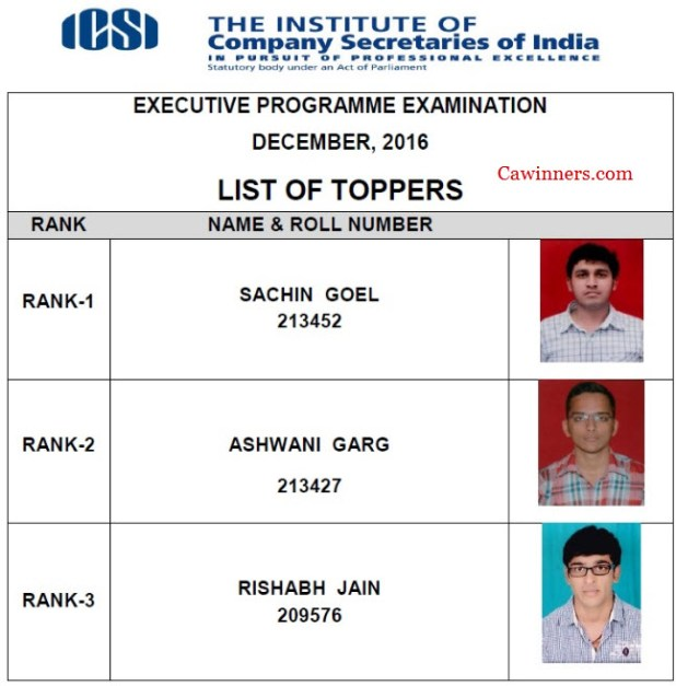 CS Executive Merit List Dec 2016