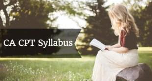 CA CPT Syllabus For June 2018