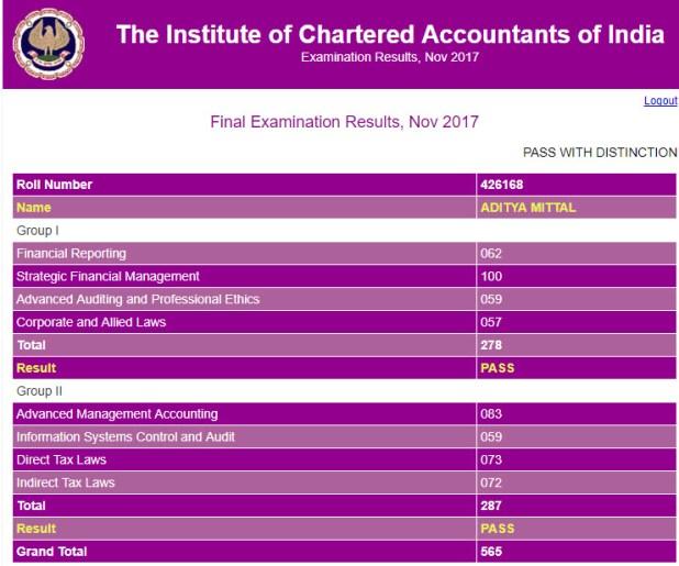 CA Final Nov 2017 Topper - 3 Marksheet
