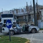 Cement mixer crushes car in collision