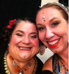 Me and Cassandra, before a bellydance fundraiser