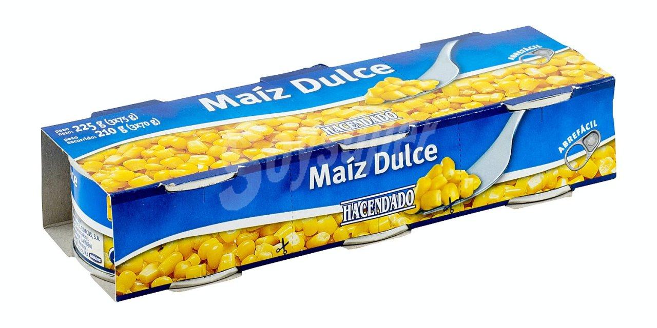 MAIZ DULCE CONSERVA, mercadona pack 3 latas