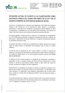 SITUACION ACTUAL EN CUANTO A CLASIF SUSTANCIA TOXICA DEL PLOMO
