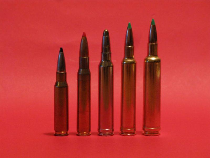 Algunos de los 7,62 mm más conocidos.  De izquierda a derecha, .308 Winchester, .30-06 Springfield, .300 Winchester Magnum, .300 Weatherby Magnum y .30-378 Weatherby Magnum.